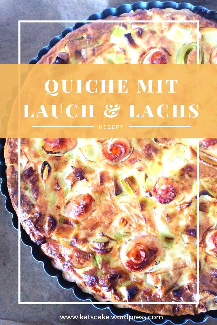 Französische Küche: Leckere herzhafte Quiche mit Lauch und Lachs. Voilà!