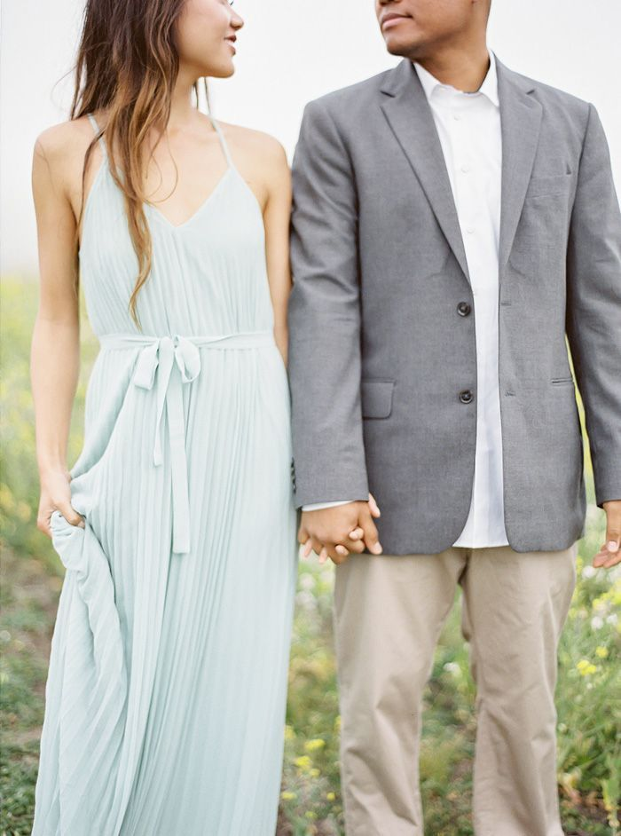 LOVE this blue flowy dress and grey jacket for him. Coco Tran Photography Engagement Session