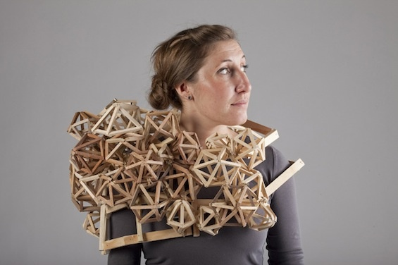 The artist Tracy Featherstone imagines portable sculptures made of pieces of wood.
