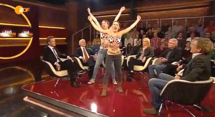 烏克蘭露乳示威者殺上德國電視直播: 柏林 – 烏克蘭著名無上裝示威團體FEMEN德國分支,週四殺上公視二台ZDF的 Markus Lanz 的談話節目,呼籲大眾杯葛在卡達舉辦的2022世界杯,並大叫:「杯葛、黑社會、國際足協」的口號。