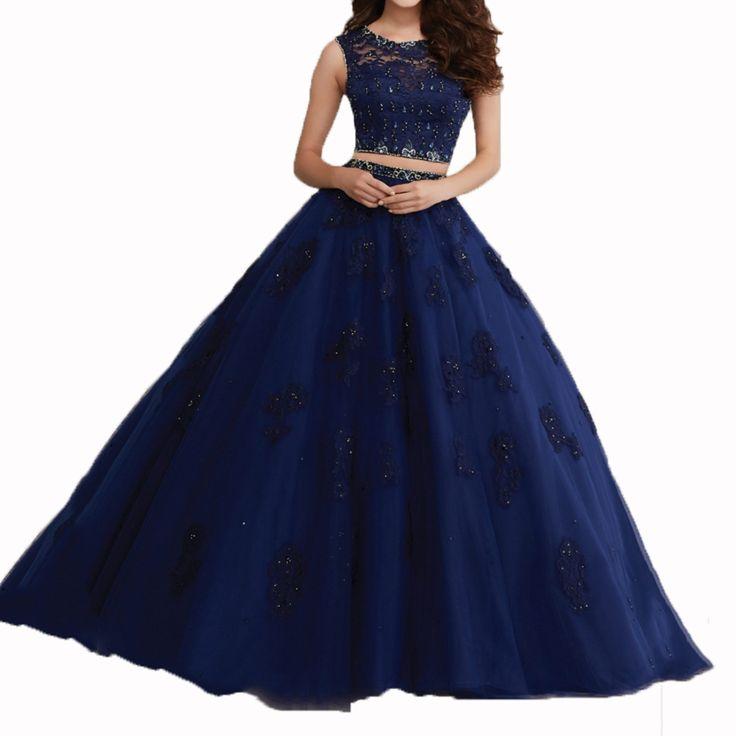 Dois pedaços de pêssego marinha azul Vestidos Quinceanera turquesa doce 16 Dresses Vestidos 15 Anos Quinceanera Vestidos Quinceanera baratos em Vestidos de Debutante de Casamentos e Eventos no AliExpress.com | Alibaba Group