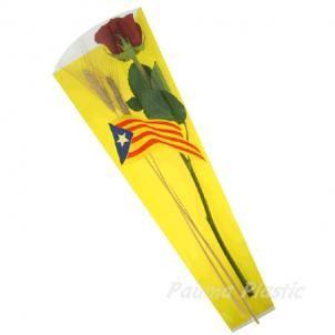 Bolsa Sant Jordi Senyera ESTELADA con  fondo AMARILLO 1000 unidades 6x18x48 imp.4 colores.  BOLSAS PARA SANT JORDI, bolsa cono para la rosa se Sant Jordi, bolsas con bandera catalana, bolsa con Senyera per la rosa, bolsas con bandera andorrana, cono para la diada, bolsas de celofan para flores, bolsa para Sant Jordi personalizadas. BOLSAS PARA LA ROSA DE SANT JORDI AL MEJOR PRECIO