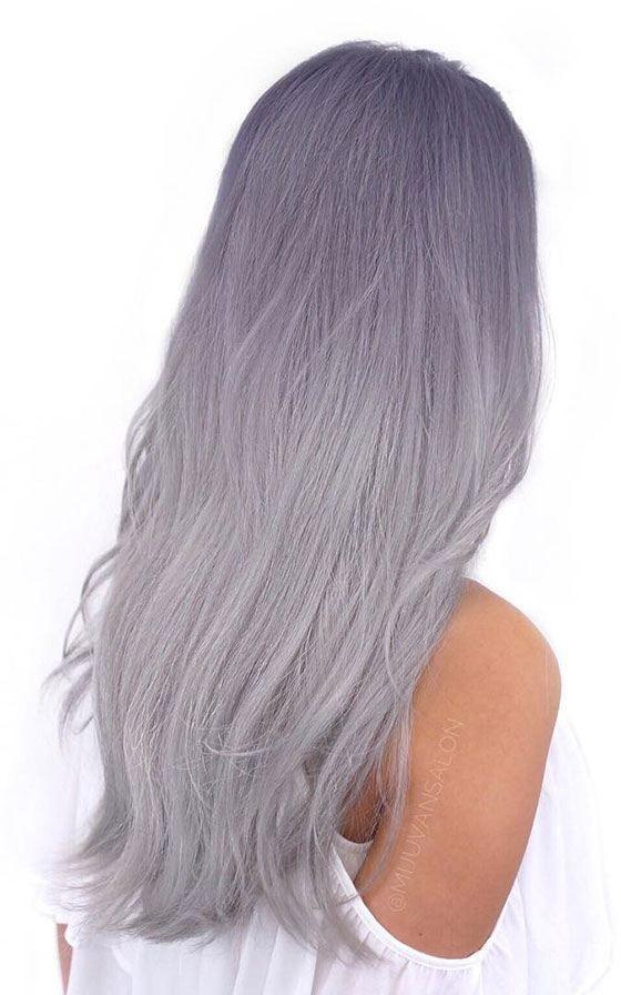 Лилово-серый омбре на длинных волосах