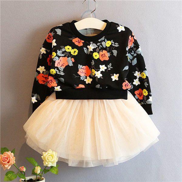 US Stock Kids Baby Girl Sweater Coat Tops T-Shirt +Skirt Tulle Set Dress Clothes  | eBay