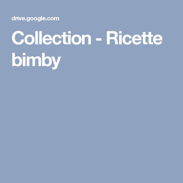 Collection - Ricette bimby