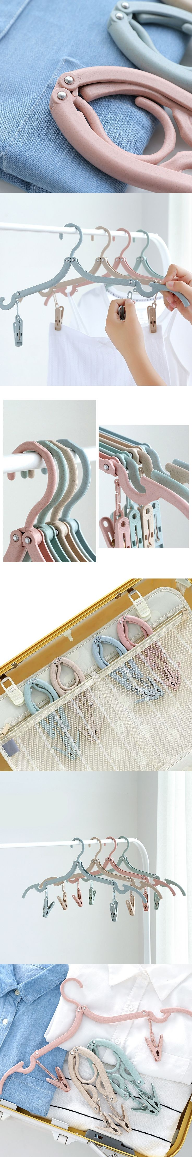 3 Pcs/Set Portable Folding Clothes Hangers With Clips Space Saving Camping Travel Clothing Drying Rack E2S