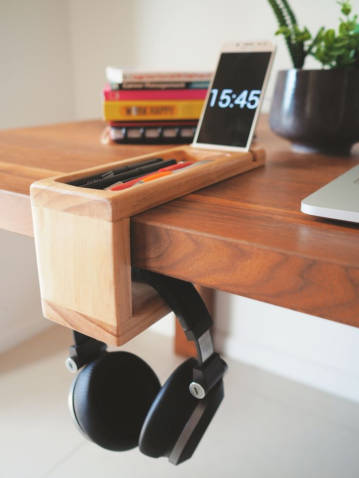 Everything you need all in one place. This handmade wooden desk organiser has been originally designed for those who want to organise their pens, phone and headphone. #Home desk storage - #Gift for husband - #Dadgift - #Deskorganiser - #deskorganizer - #officeorganiser - #deskaccessories - #woodenorganizer - #wooddeskorganizer - #headphonestorage - #phonestand - #pen tray - #gift for him