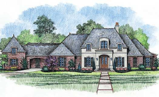 French Country Style House Plans - 4000 Square Foot Home , 1 Story, 4 Bedroom and 3 Bath, 3 Garage Stalls by Monster House Plans - Plan 91-117