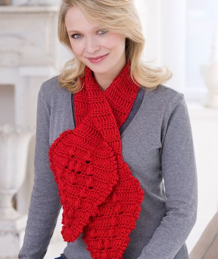 Lace Keyhole Scarf Knitting Pattern : 1000+ images about Crochet - Scarves (Red Heart) on Pinterest Stitches, Yar...