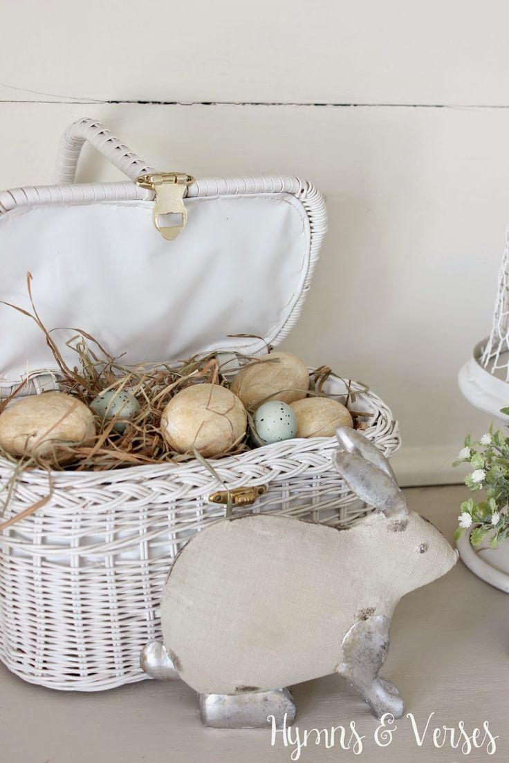 Spring Cottage Style Buffet Vintage Wicker Pocketbook Easter Basket