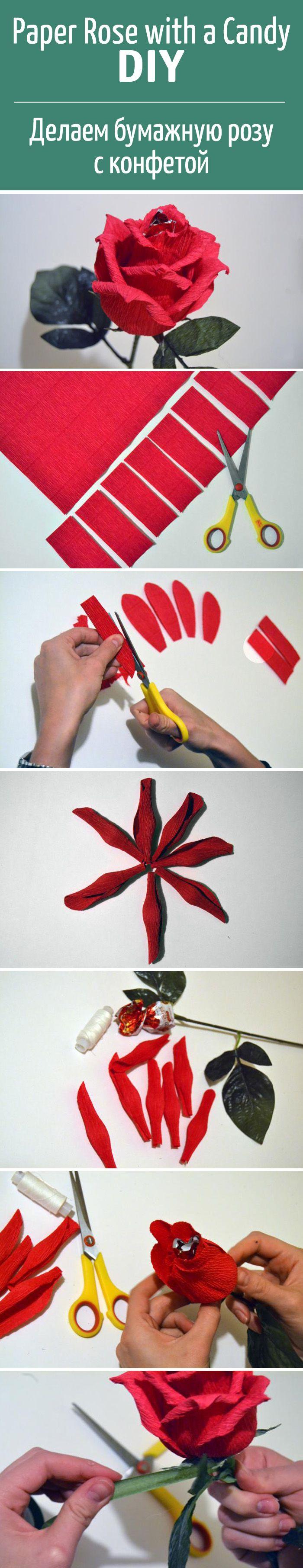 """Делаем сладкий сюрприз — """"розу"""" с конфетой  / Candy bouquet, paper rose flower with a candy DIY"""