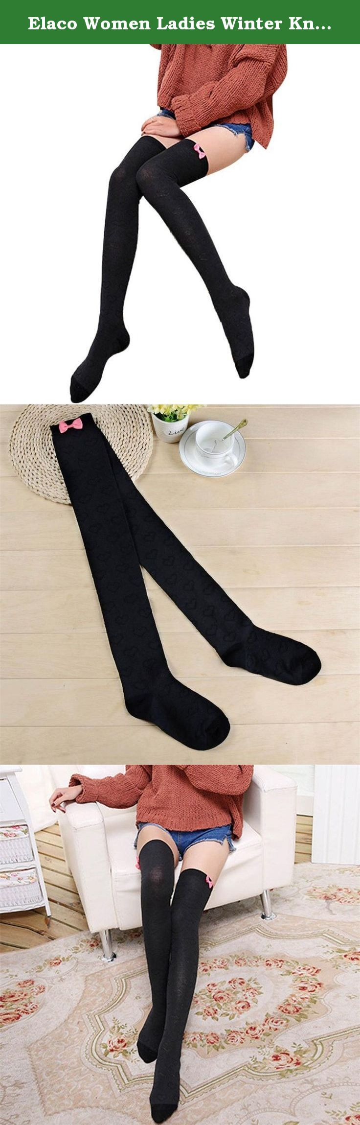 Elaco Women Ladies Winter Knit Over The Knee Socks Thigh High Cotton Boot Stockings (Black). 100% new and high quality! Material:Cotton Size:Foot plate 19.5CM + stockings 52CM One size fit most,stretchy Soft and fashionable cable knit leg warmers. Very comfortable Stretch Fabric,a perfect gift to yourself or friends. Pls Note:Different computer have different monitor,the color may be a little difference. Thanks for your understandings. Package Content: 1 pair Socks.