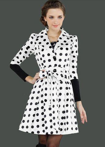 Ladylike Turndown Collar Half Sleeve Dot Print Trench Coats – teeteecee - fashion in style