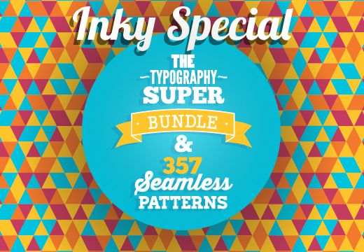 Inky Special: The Typography Super Bundle & 357 Seamless Patterns