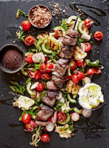 Lamb Skewers and Fattoush with NOMU Smoked Chipotle Cook's Salt.