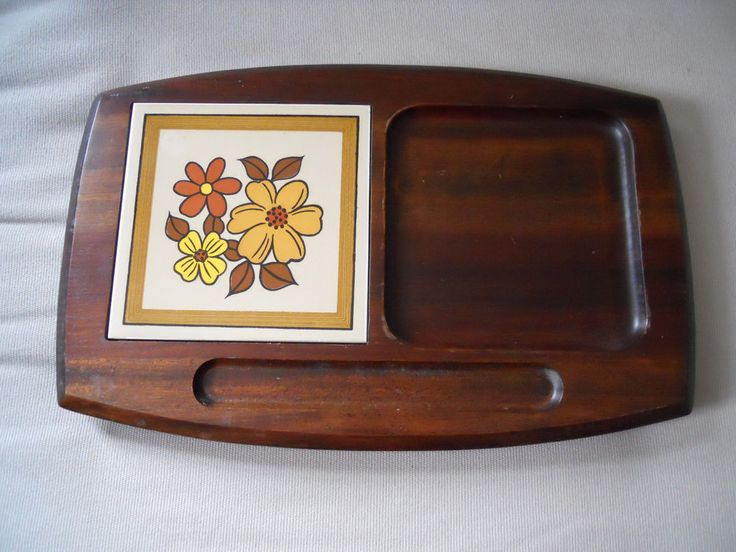Vintage Wooden Cheese Cutting Board Tray with Ceramic Tile #Unbranded
