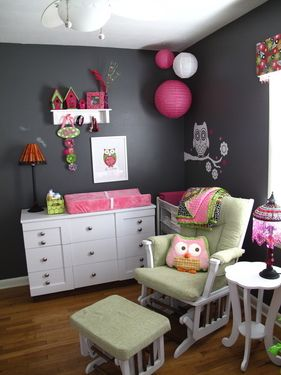 Gray walls, with pops of pink and green.