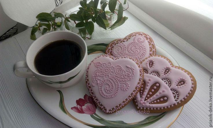 Купить Пряники розовые сердечки. - пряники, розовый, бледно-розовый, сердце, расписные пряники
