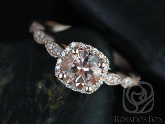 Christie 6mm 14kt Rose Gold Morganite and Diamond by RosadosBox