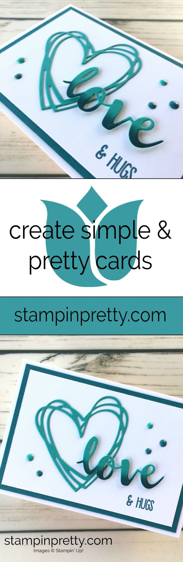 Learn how to create a simple love card valentine using Sunshine Wishes Dies - Mary Fish Stampin Up Ideas #maryfish #stampinpretty