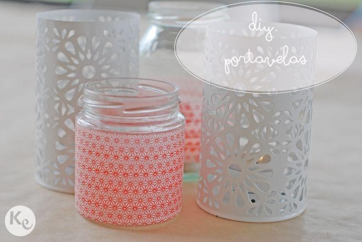 DIY. Portavelas con tarros de cristal y washi tape -TodoBoda.com