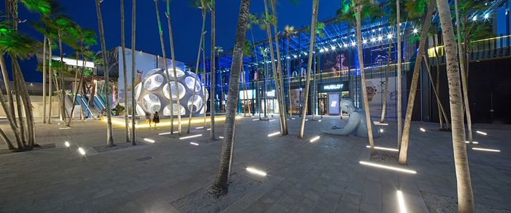 The court at night. Palm Court, Miami Design District. Master architect: SB Architects. Photograph by Robin Hill.