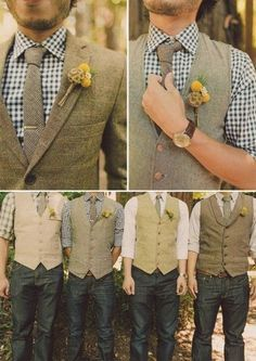 Mismatched groomsmen's attire is the hot new trend of 2015. These jeans, tweed vests and checkered shirts are perfect for a fall wedding.: