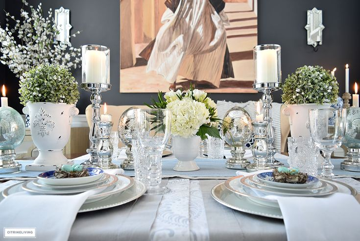 Elegant Easter and Spring tablespcae with mercury glass accents, mixed with fresh and faux florals and greenery.