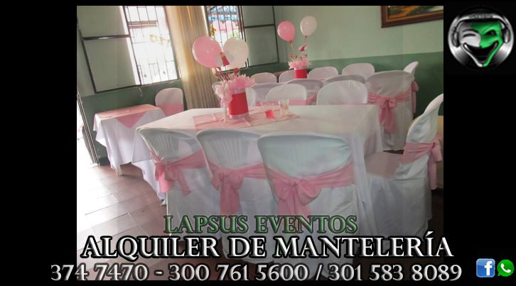 Alquiler de Manteleria en Bogota | Lapsus Eventos | Tel: 374 7470 | 300 761 5600 - 301 583 8089 | WhatsApp y Redes Sociales