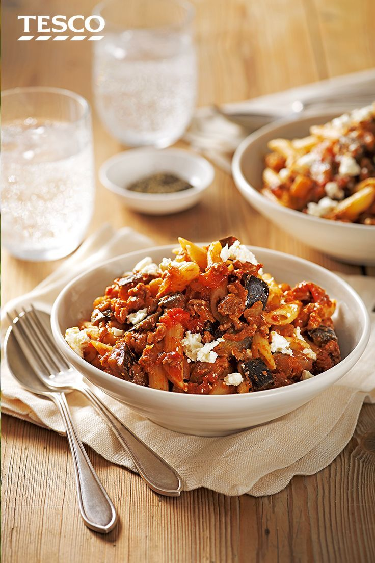 Inspired by the rich Greek flavours of moussaka, this delicious pasta recipe is loaded with rich lamb mince, chunky Mediterranean vegetables and creamy feta cheese. | Tesco
