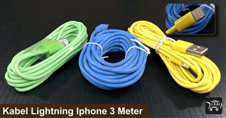 Kabel Lightning Iphone 3 Meter, kabel charger untuk iphone 5 keatas dengan panjang kabel 3 meter.