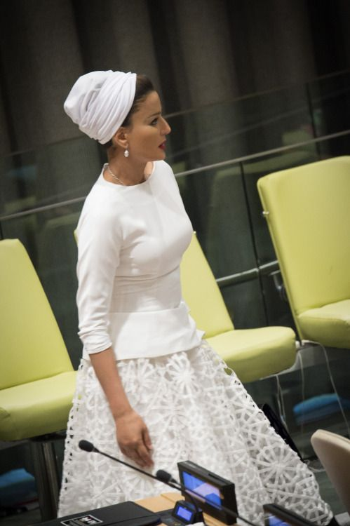 Sheikha Mozah's white couture dress is everything!Photo from HHOPL