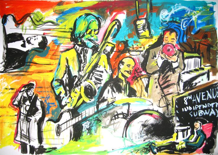 """Davide Ricchetti : """"Jazz n1"""" acrylic on paper, cm 20x30,Private collection"""