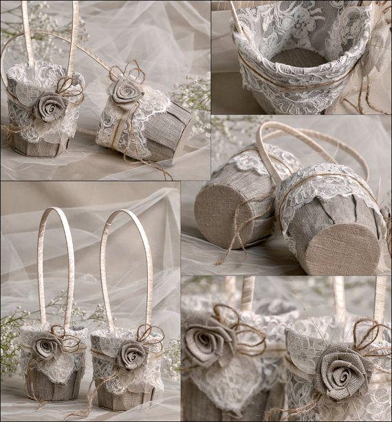 Flower Girl Basket & Ring Bearer Pillow Set by forlovepolkadots