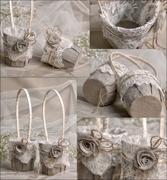 Flower Girl Basket & Ring Bearer Pillow Set by forlovepolkadots