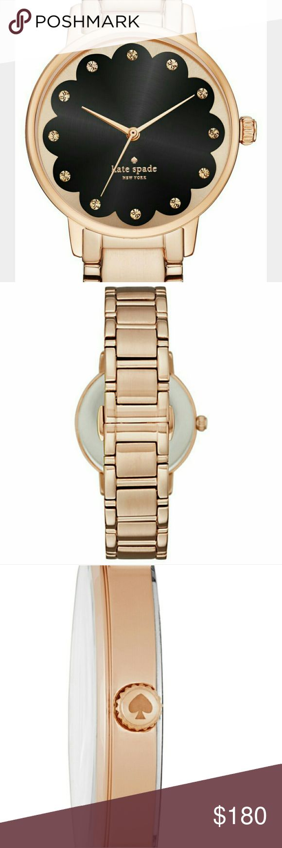 SALE Kate Spade Rose Gold Scallop Gramercy Watch A scalloped black dial gives a sweet touch to the classic rose gold-tone kate spade new york gramercy watch, perfect for wearing alone or layering for a more-is-more look!   Case thickness: 8 mm; case diameter: 34 mm; band width: 16 mm; band circumference: 175 mm (+/- 5 mm)  Band material: stainless steel; movement: three-hand; water resistance: 3 atm Analog-quartz Movement Kate Spade Accessories Watches