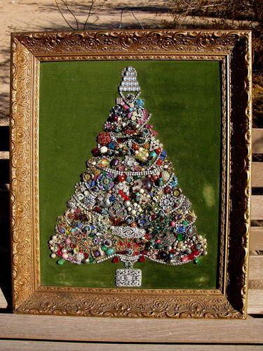 Vintage Framed Jewelry Christmas Tree on Velvet Lots of Rhinestones | eBay