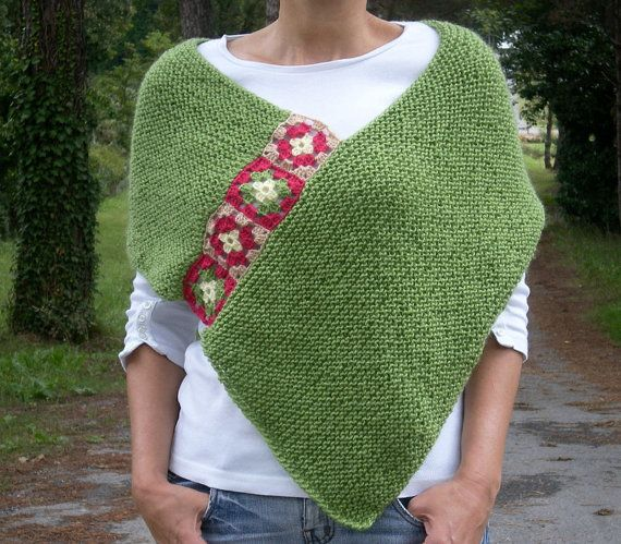 Women Poncho with Afghan Motifs in Green Hand by bysweetmom