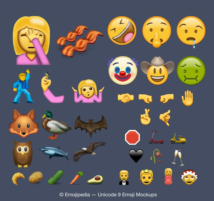 The candidate list for Unicode 9 is taking shape, with the final list of new emojis scheduled for approval in mid-2016. 38 emoji characters have been accepted as candidates for the 2016 Unicode update, including Face Palm, Selfie, Shrug, Fingers Crossed, and Pregnant Woman. We commissioned a complete set of