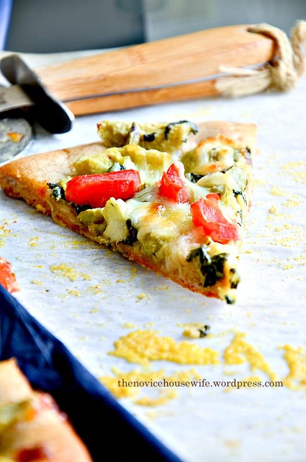 Low Fat Vegetarian Spinach & Artichoke Whole Wheat Pizza