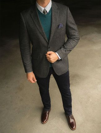 quite nice d01b9 a67e4 Something as simple as teaming a dark grey wool blazer with black jeans can  potentially set you apart from the crowd. Dark brown leather derby shoes  will ...