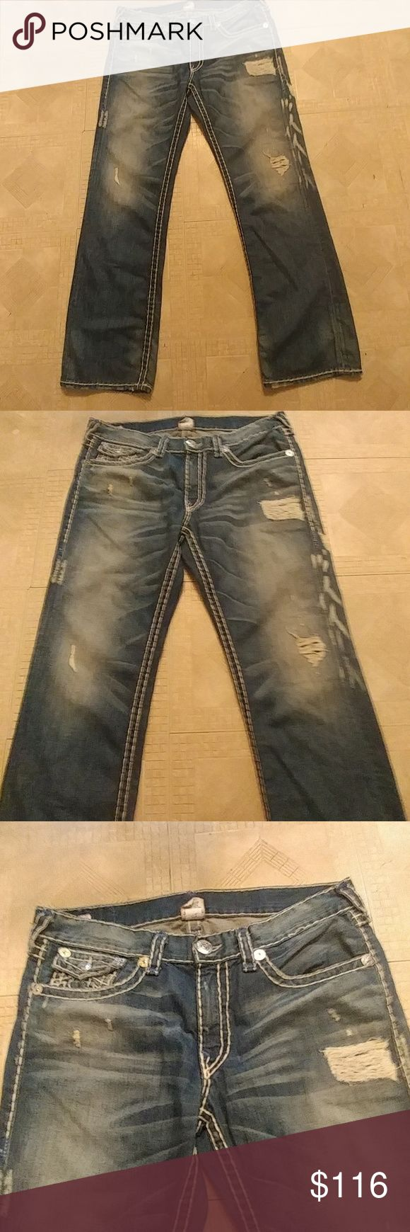 TRUE RELIGION MENS JEANS destored fashion Jeans are so nice worn one time size 36 color blue with white detrored look. True Religion Jeans