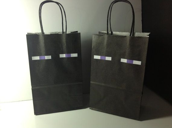 10 Minecraft Birthday Party Enderman Treat Sack Goody Candy Bags with Handles on Etsy, $9.99
