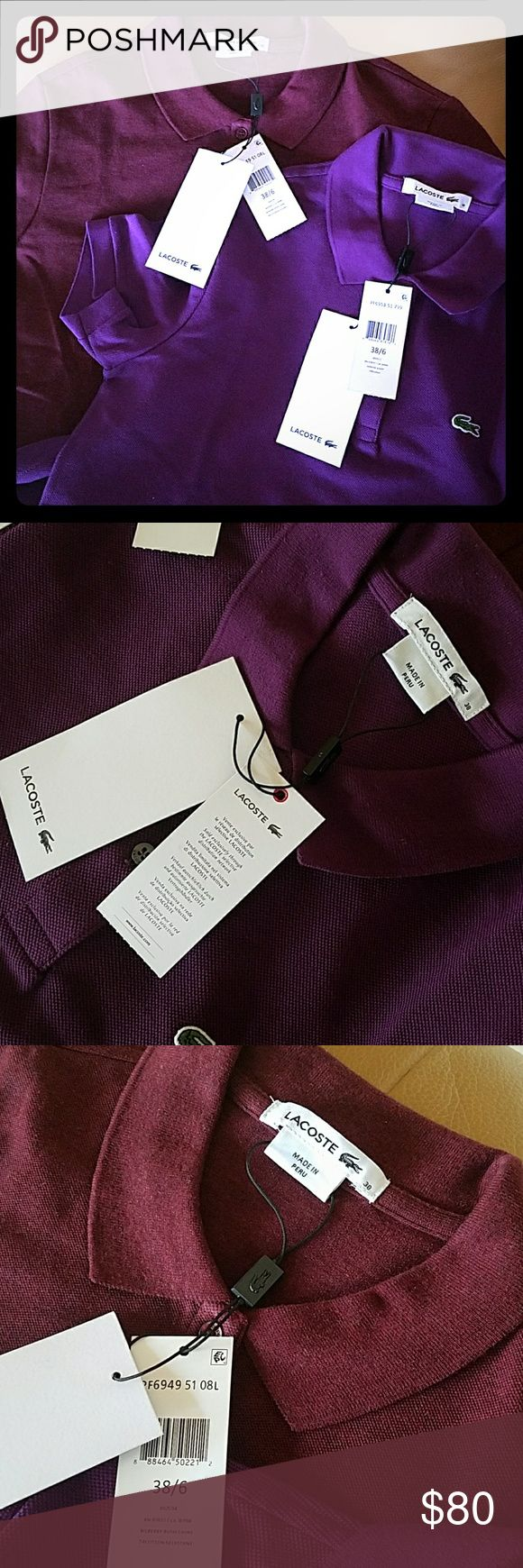 NWT Lacoste polo shirts Womens lacoste shirts. Never worn in size 38/6. 80$ for both or 45 ea in Bohemme purple and Bilberry Busch Chine. Lacoste Tops