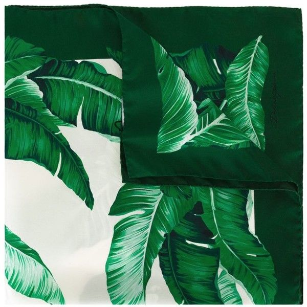 Dolce & Gabbana banana leaf print scarf ($275) ❤ liked on Polyvore featuring accessories, scarves, green, silk shawl, silk scarves, green silk scarves, green shawl and green scarves