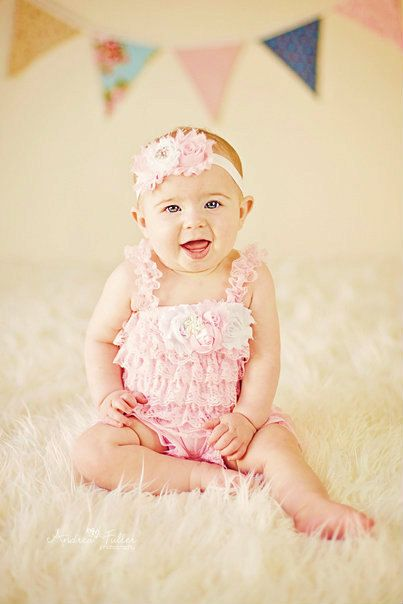 Petti Romper Headband SET,  Pink Lace romper & baby headband, hair bow, outfit, pettiromper girl