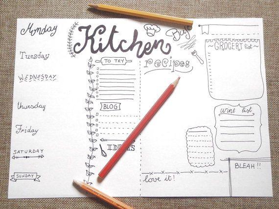 kitchen journal printable journaling menu chef food planner