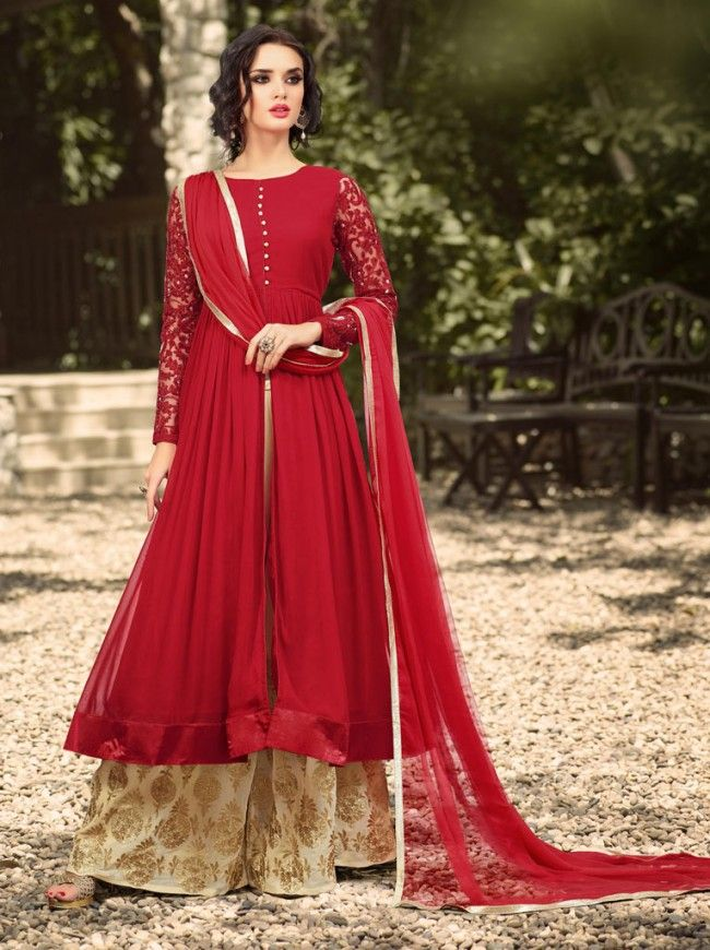 4a36ae8aa0d Wedding Flares Red Georgette Embroidered Anarkali Palazzo Suit ...