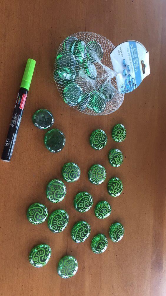 Moana Heart of Tafiti Party Favors! Glass gems – $1 @ Dollar Tree Lime paint pen…