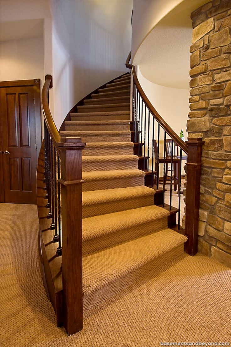 Curved Staircase Basement Award Winning Luxury Basement In Parker Remodeling By Basements